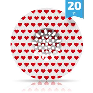 SINK SKIN מסננת חד פעמית לכיור מטבח אירופאי - לבבות אדומים